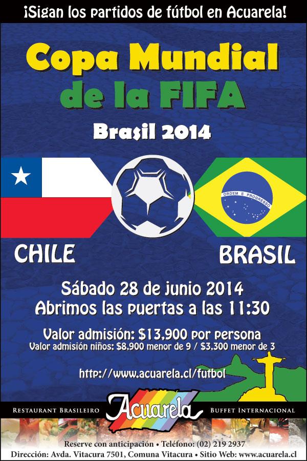 Brasil vs Chile 2014 en Acuarela